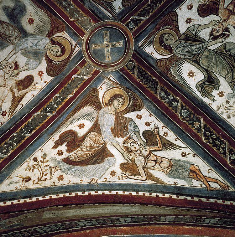 Cathédrale d'Anagni, une fois la crypte: les anges qui détiennent les quatre démons ou les vents de destruction dans images sacrée 06r_03_02