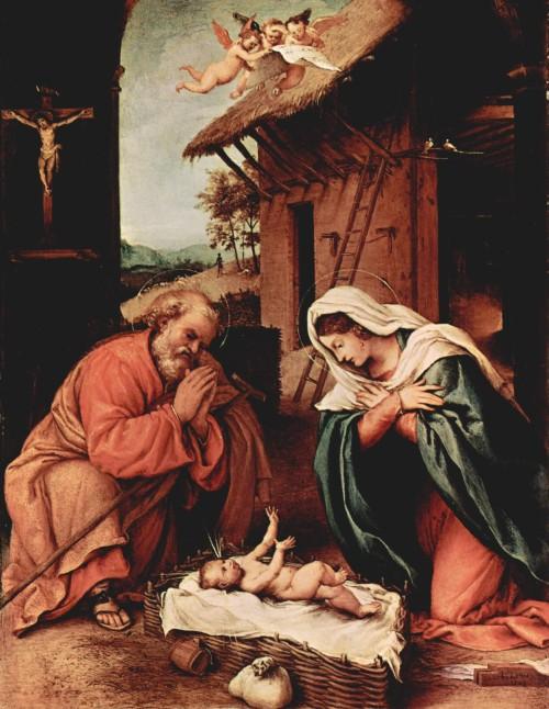 Lorenzo Lotto, Natività, 1523, Washington, National Gallery of Art dans immagini sacre img01