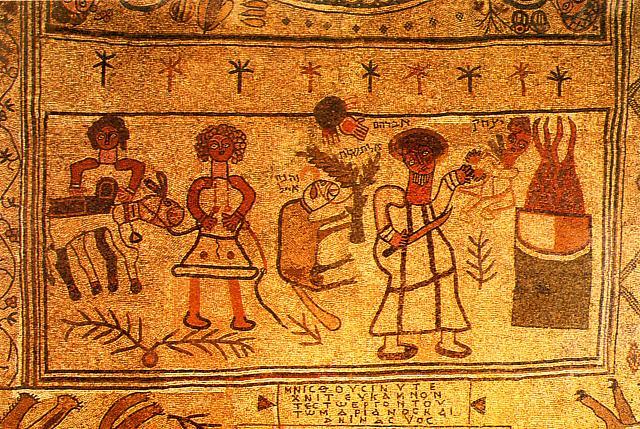 Bet Alfa: mosaico con il sacrificio di Isacco